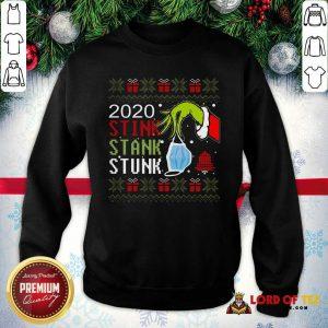 Top Hand Grinch Holding Mask 2020 Stink Stank Stunk Ugly Christmas SweatShirt