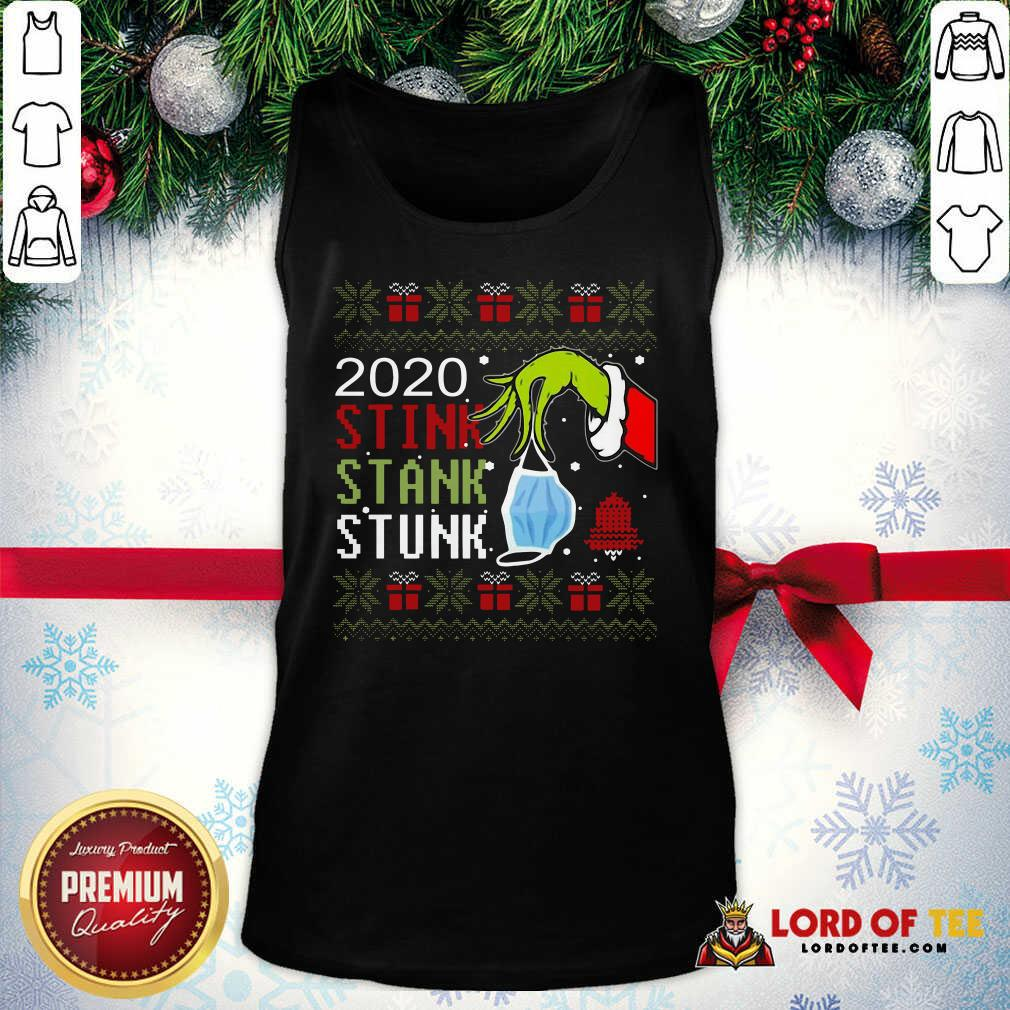 Top Hand Grinch Holding Mask 2020 Stink Stank Stunk Ugly Christmas Tank Top