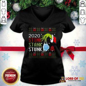 Top Hand Grinch Holding Mask 2020 Stink Stank Stunk Ugly Christmas V-neck