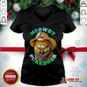 Meowdy Purrdner Cat Funny V-neck - Design By Lordoftee.com