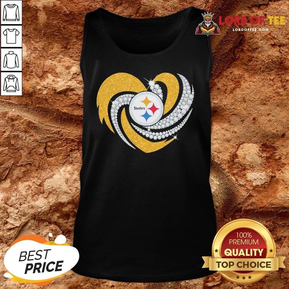 Top Pittsburgh Steelers Heart Diamond Tank Top