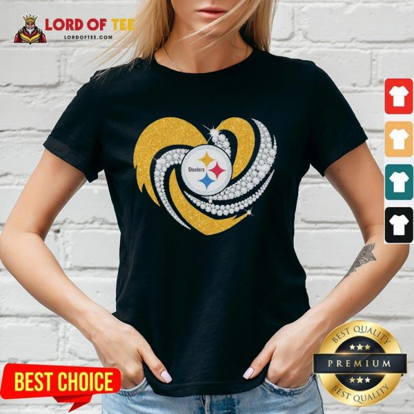 Top Pittsburgh Steelers Heart Diamond V-neck