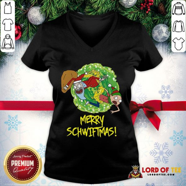 Top Rick And Morty Merry Schwiftmas Ugly Christmas V-neck