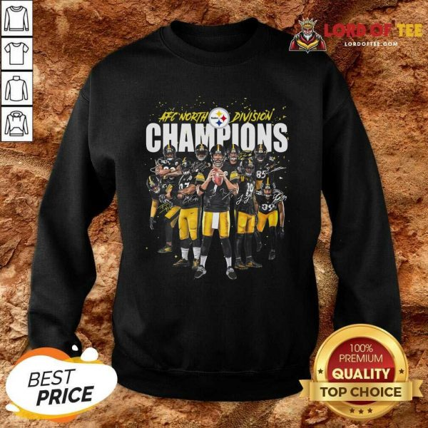 Pittsburgh Steelers Team Football Afc North Division Champions Signatures Sweatshirt - Desisn By Lordoftee.com