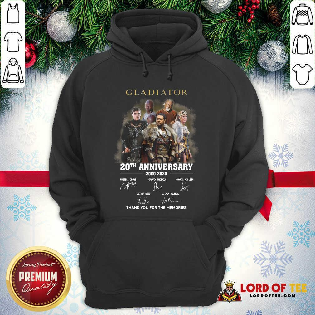 Gladiator 20th Anniversary 2000 2020 Thank You For The Memories Signatures Hoodie - Desisn By Lordoftee.com