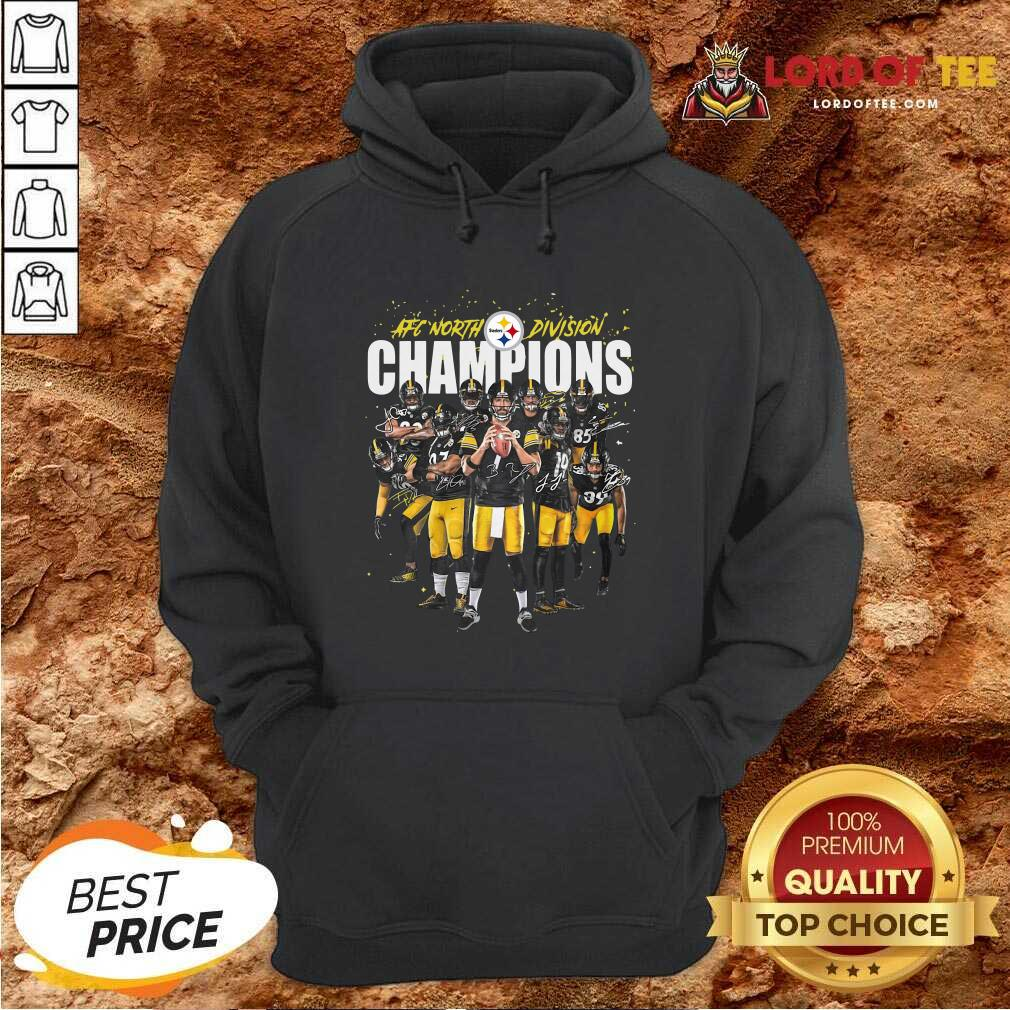 Pittsburgh Steelers Team Football Afc North Division Champions Signatures Hoodie - Desisn By Lordoftee.com