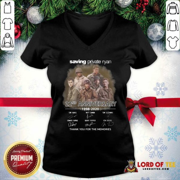 Saving Private Ryan 22nd Anniversary 1988 2020 Thank You For The Memories Signatures V-neck - Desisn By Lordoftee.com