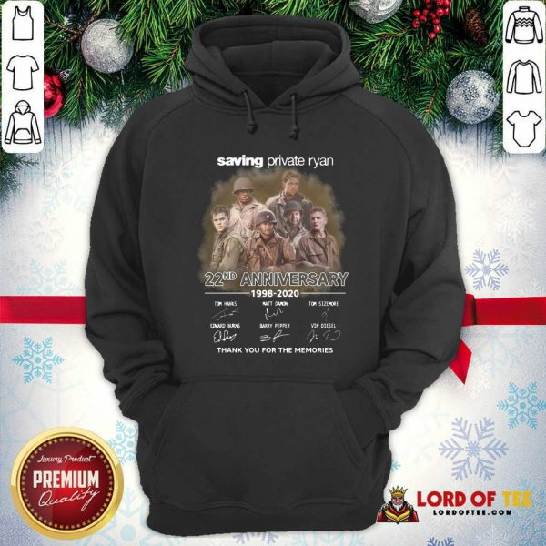 Saving Private Ryan 22nd Anniversary 1988 2020 Thank You For The Memories Signatures Hoodie - Desisn By Lordoftee.com