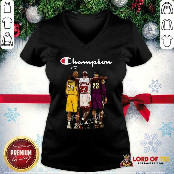 Kobe Bryant Michael Jordan Lebron James Champion Signatures V-neck-Design By Lordoftee.com