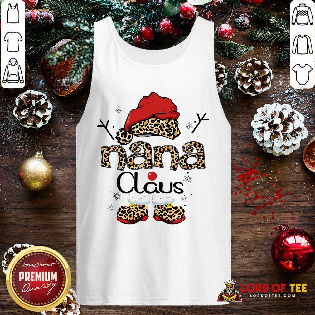Leopard Nana Claus Ugly Christmas Tank Top-Design By Lordoftee.com