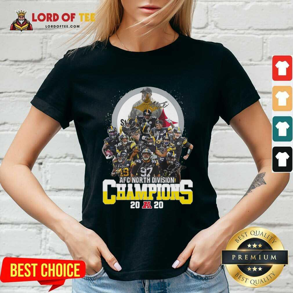 Pittsburgh Steelers Afc North Division Champions 2020 Signatures V-neck - Desisn By Lordoftee.com