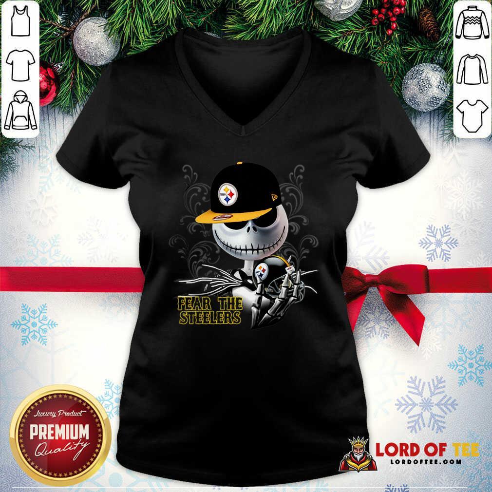 Jack Skellington Fear The Pittsburgh Steelers V-neck-Design By Lordoftee.com