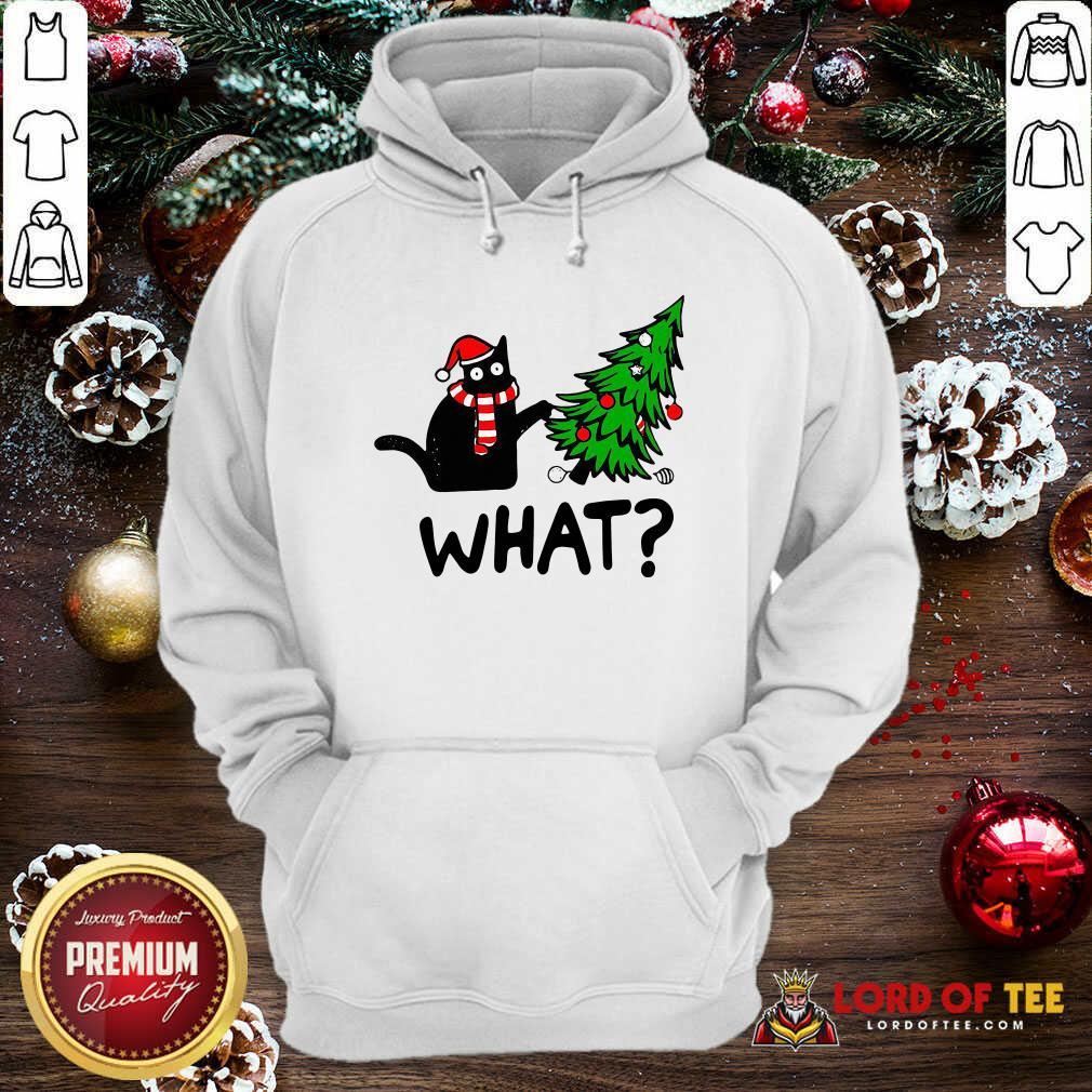 Black Cat Pine What Christmas Hoodie-Design By Lordoftee.com