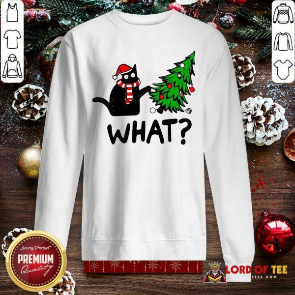 Black Cat Pine What Christmas Sweatshirt-Design By Lordoftee.com