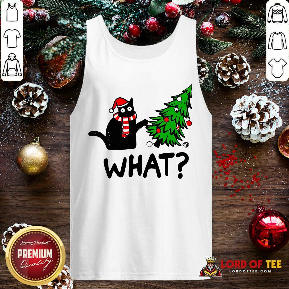 Black Cat Pine aWhat Christmas Tank Top-Design By Lordoftee.com