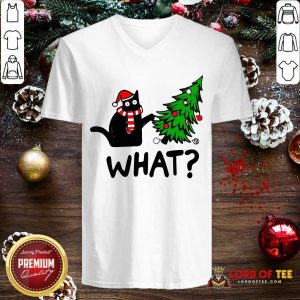 Black Cat Pine What Christmas V-neck-Design By Lordoftee.com