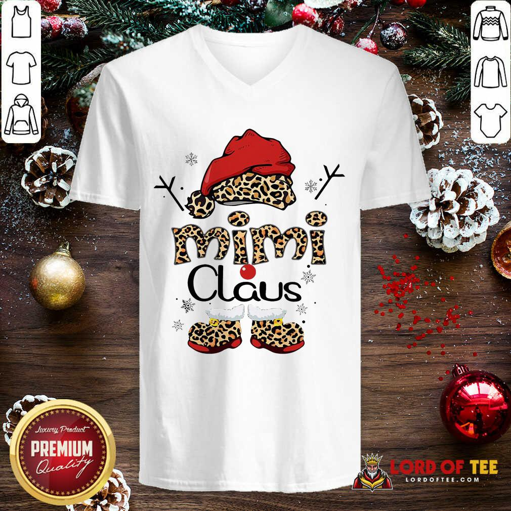 Leopard Mimi Claus Ugly Christmas V-neck-Design By Lordoftee.com