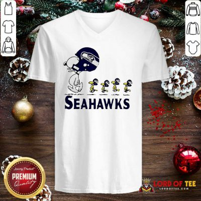 Snoopy And Woodstock Player Of Seattle Seahawks V-neck - Design By Lordoftee.com