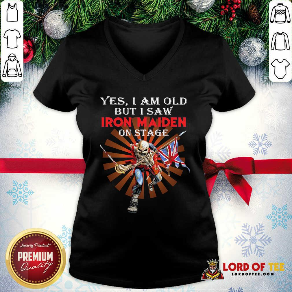 Yes I Am Old But I Saw Iron Maiden On Stage Skeleton V-neck - Desisn By Lordoftee.com