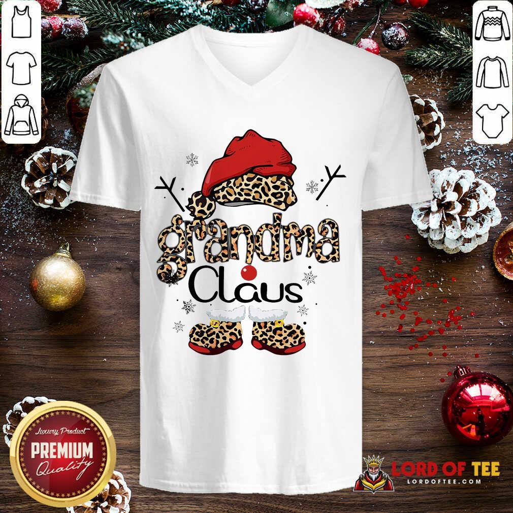 Leopard Grandma Claus Ugly Christmas V-neck-Design By Lordoftee.com