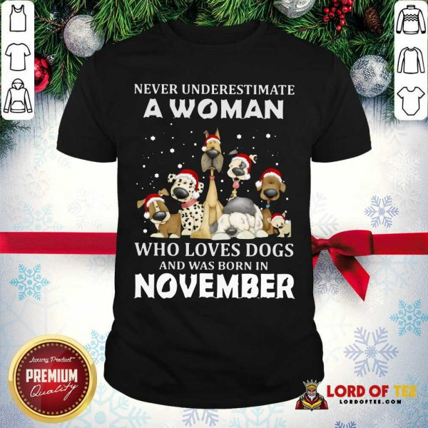 Never Underestimate A Woman Who Loves Dogs And Was Born In November Christmas Shirt-Design By Lordoftee.com