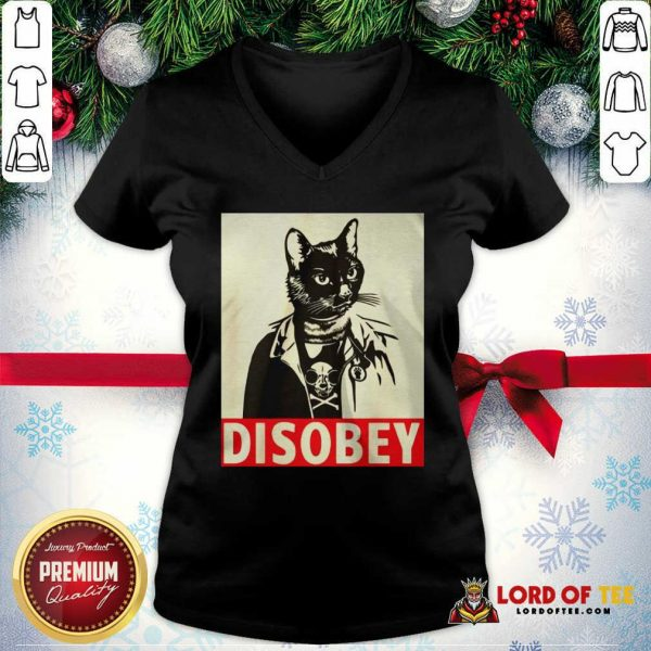 Radical Cat Disobey V-neck-Design By Lordoftee.com