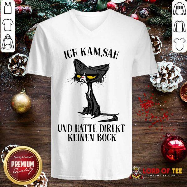 Black Cat Ich Kam Sah Und Hatte Direkt Keinen Bock V-neck-Design By Proposetees.com