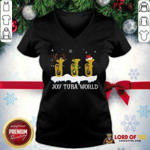 Joy Tuba World Christmas V-neck-Design By Lordoftee.com