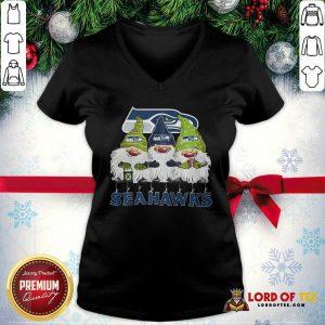 Seattle Seahawks Gnomies Christmas V-neck-Design By Lordoftee.com