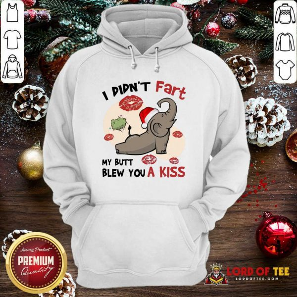Baby Elephant Santa I Didn't Fart My Butt Blew You A Kiss Merry Christmas Hoodie-Design By Lordoftee.com