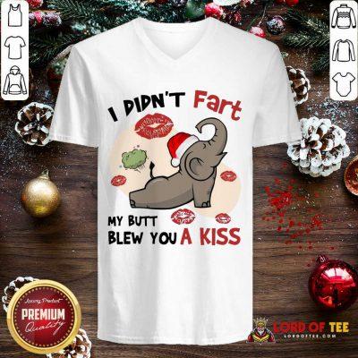 Baby Elephant Santa I Didn't Fart My Butt Blew You A Kiss Merry Christmas V-neck-Design By Lordoftee.com