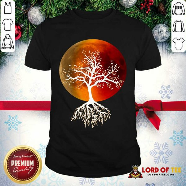 Blood Moon With Tree Moon Lunar Eclipse Moonlight Full Moon Pullover Shirt - Design By Lordoftee.com