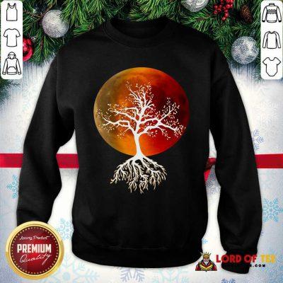 Blood Moon With Tree Moon Lunar Eclipse Moonlight Full Moon Pullover SweatShirt - Design By Lordoftee.com