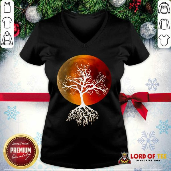 Blood Moon With Tree Moon Lunar Eclipse Moonlight Full Moon Pullover V-neck - Design By Lordoftee.com