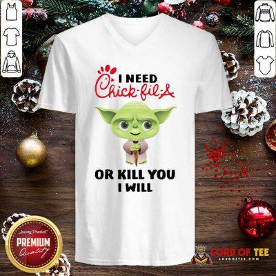 Baby Yoda I Need A Chick-Fil-A Or Kill You I Will V-neck - Design By Lordoftee.com