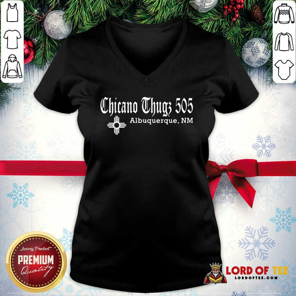 Chicano Thugs 5O5 Albuquerque Nm V-neck-Design By Lordoftee.com