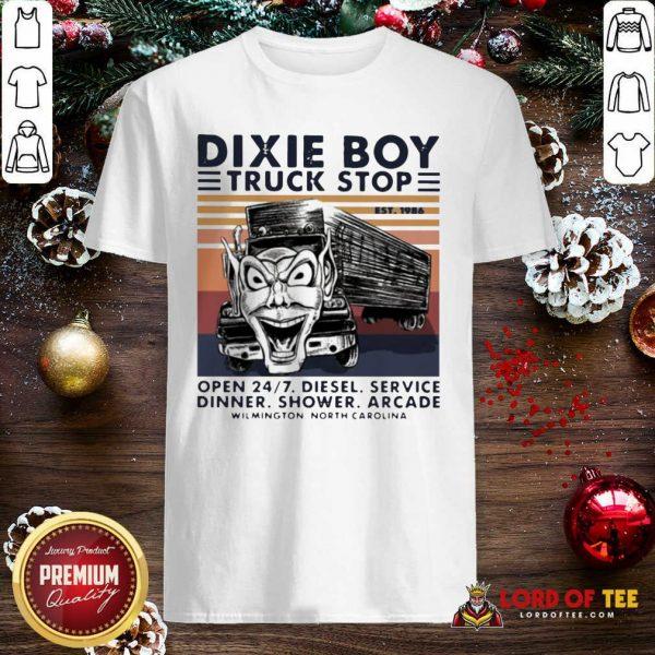 Vintage Dixie Boy Truck Stop Open 247 Diesel Service Dinner Shower Arcade Wilmington North Carolina Shirt - Design By Lordoftee.com
