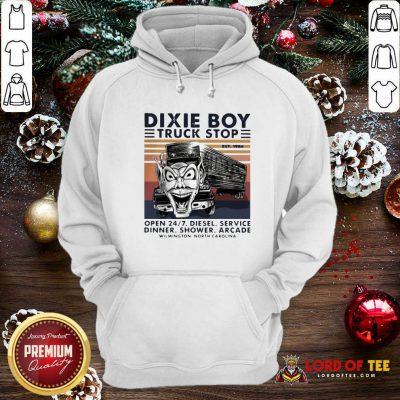Vintage Dixie Boy Truck Stop Open 247 Diesel Service Dinner Shower Arcade Wilmington North Carolina Hoodie - Design By Lordoftee.com