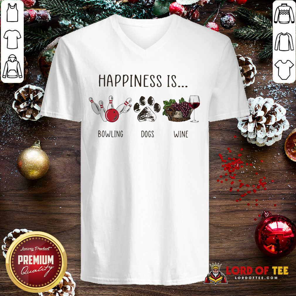 Happiness Is Bowling Dogs Wine V-neck-Design By Lordoftee.com