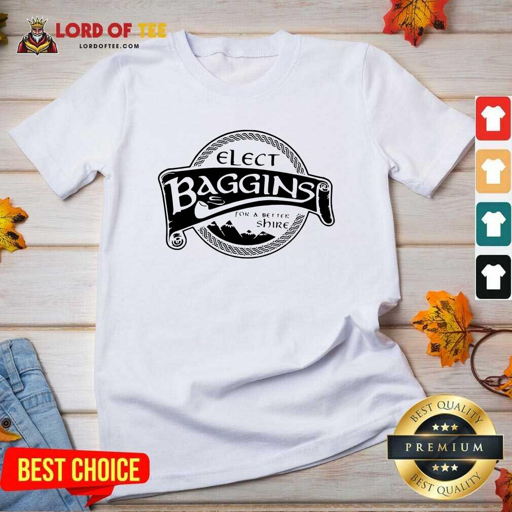 Elect Baggins For A Better Shire V-neck - Desisn By Lordoftee.com