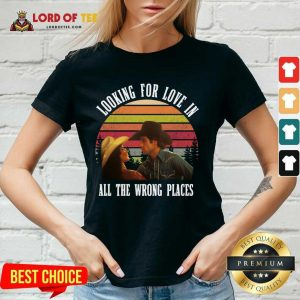 Urban Cowboy Looking For Love In All The Wrong Places Vintage V-neck