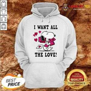 Nice Peanuts Snoopy All The Love Valentines Hoodie - Desisn By Lordoftee.com