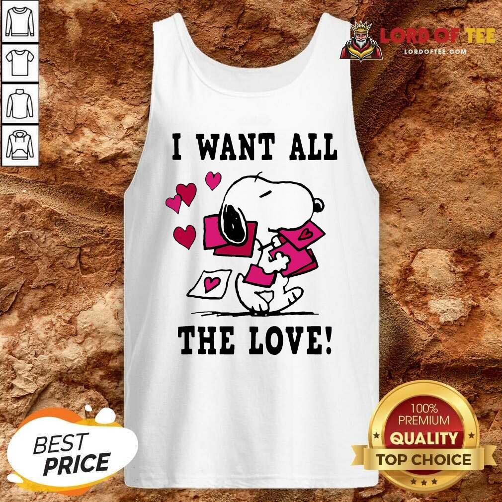 Nice Peanuts Snoopy All The Love Valentines Tank Top - Desisn By Lordoftee.com