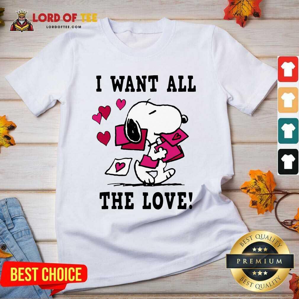Nice Peanuts Snoopy All The Love Valentines V-neck - Desisn By Lordoftee.com