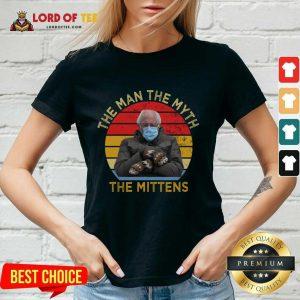 Bernie Sanders The Man The Myth The Mittens Vintage V-neck