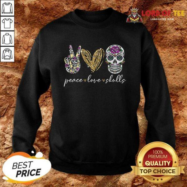 Official Peace Love And Skulls Diamond Sweatshirt