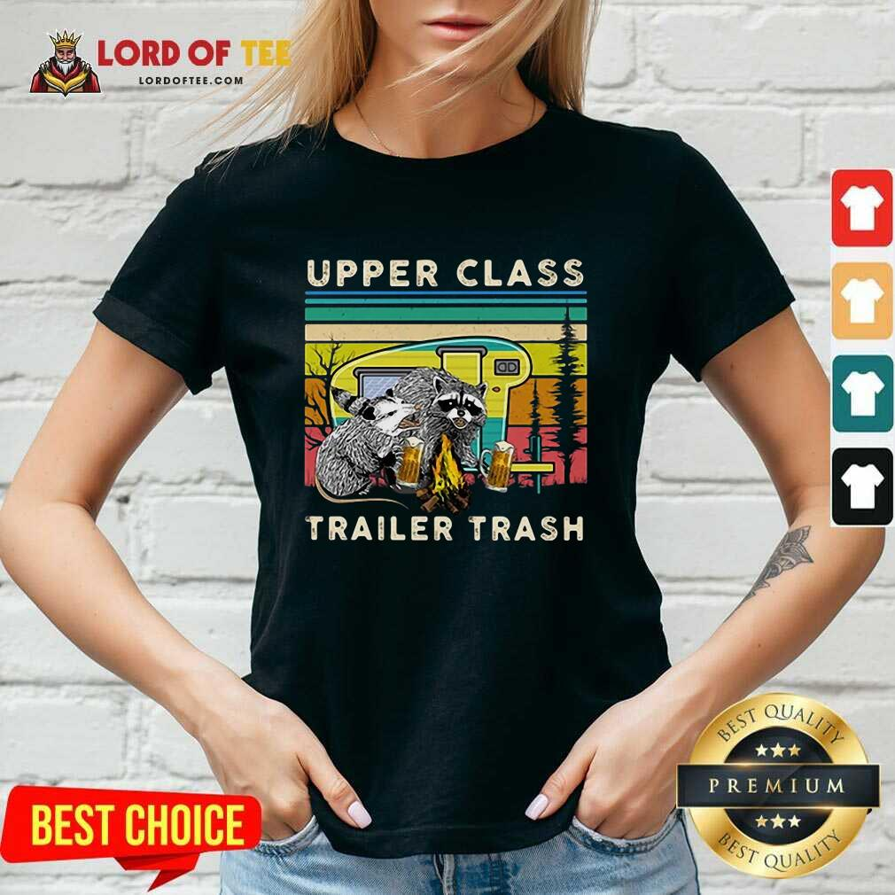 Official Raccoons And Opossums Upper Class Trailer Trash V-Neck