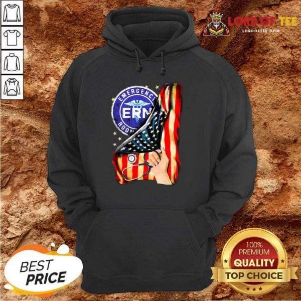 Top Emergency Room And American Flag Hoodie