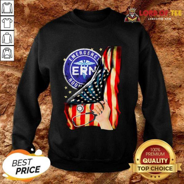 Top Emergency Room And American Flag Sweatshirt