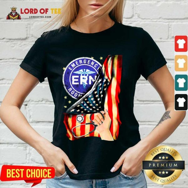 Top Emergency Room And American Flag V-Neck